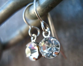 Titanium Earrings, Rhinestone Crystals with Hypoallergenic Titanium Ear Wires