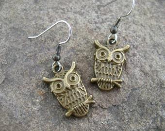 Surgical Stainless Steel Owl Earrings, Antiqued Bronze Owls on Hypoallergenic Steel, 1pair