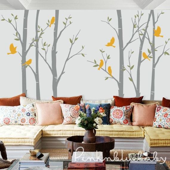 wall decals the birch tree forest with birds removable wall. Black Bedroom Furniture Sets. Home Design Ideas