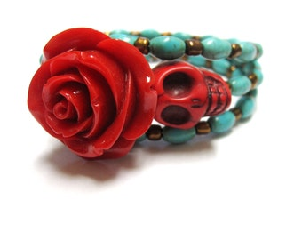 Sugar Skull Bracelet Day Of The Dead Wrap Red Rose Turquoise
