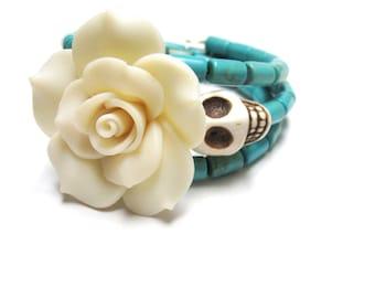 Sugar Skull Bracelet Day Of The Dead Wrap White Rose Turquoise Blue