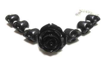 Sugar Skull Bracelet Day of the Dead Strand Jewelry Black Skulls Black Rose