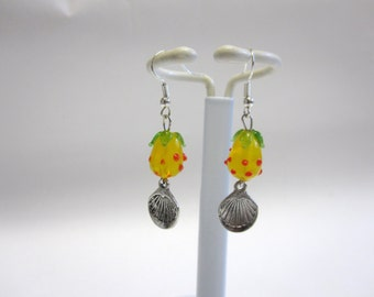 Lampwork Pineapple Fruit Earrings Yellow Red Green Clamshell