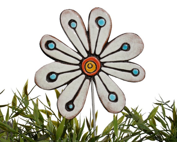 Flower garden art - plant stake - garden marker - garden decor - flower ornament - ceramic flower - abstract - white