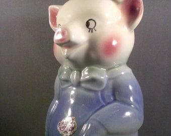 Vintage Mid Century Royal Copley Art Pottery Pig Bank Figurine Children Nursery Decor