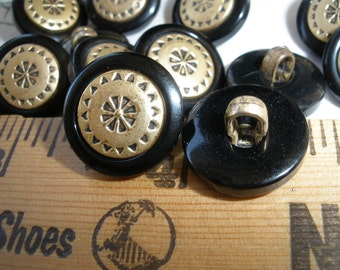 """15MM Cool Brass Color Flower Buttons 18 embossed metallic shank plastic jacket buttons size 24L 5/8"""" sewing crafts paper tag supply"""