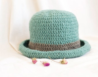 Pure Wool Teal Crochet Brim Hat with Khaki Brown Hatband
