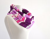Womens Accessories Scarf Long Cotton Purple Amethyst White Pink Striped