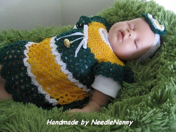 Green Bay Packers Newborn Baby Dress Set Handmade Crochet