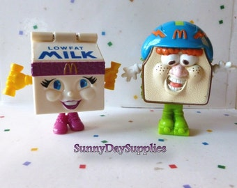 Vintage  McDonald's Happy Meal Toys - Sandwich and Milk  Changeables / Transformers ~ 1988 and 1992 McDonalds Toys ~ Food Toys