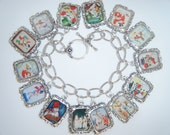 Charm Bracelet Snowman/Winter Charm Bracelet Altered Art