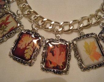 Fall Leaves Charm Altered Art Bracelet