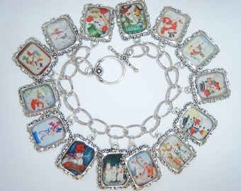 Charm Bracelet Snowman/Winter Charm Bracelet Altered Art