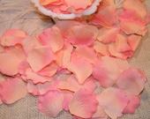 200 Rose Bulk Petals, Artificial Petals, Peach and Coral Pink Tipped, Bridal Wedding Decoration,Flower Girl Toss Basket Petals Table Scatter