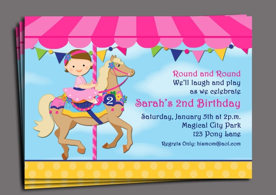 Carousel Birthday Invitation Printable or Printed with FREE SHIPPING