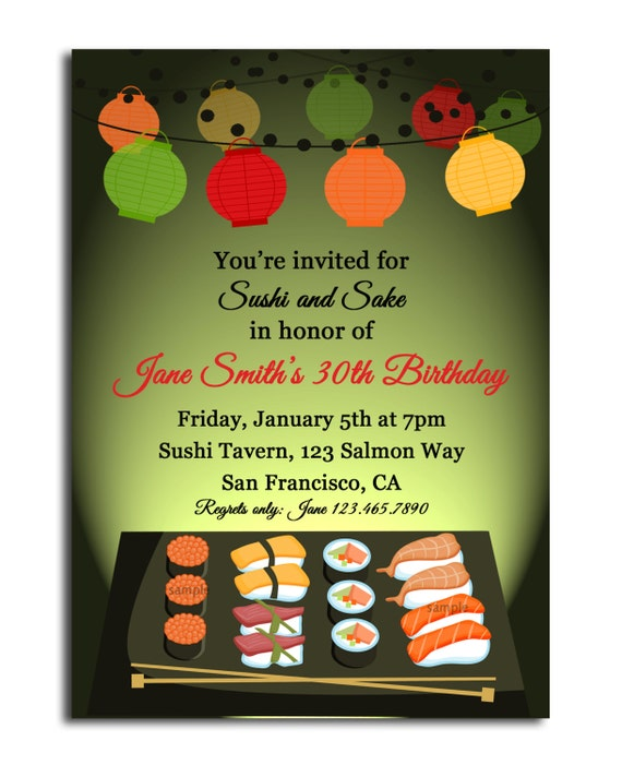 Sushi And Sake Invitation Printable Sushi Soiree Birthday