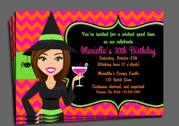 Halloween Witch Invitation Printableor Printed With Free