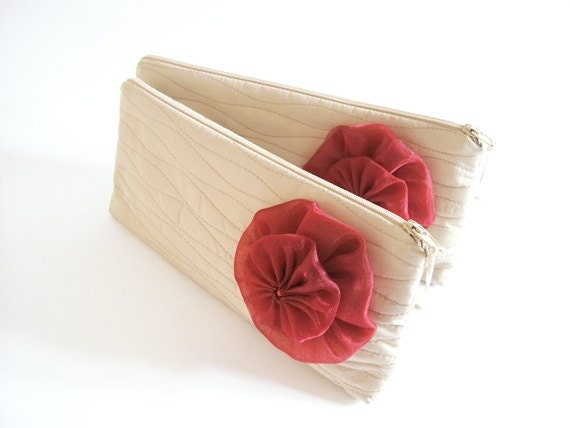 Wedding Purses with Flower, Set of 7, Bridesmaids Bags, Hawaii Wedding Bags, Beach Party Clutch,