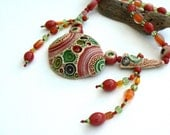 WINTER SALE Colorful Ceramic Beaded Necklace with Glass Beads,OOAK