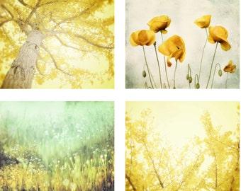 Nature Photography Set of 4 Four Prints, Lemon Yellow Wall Art, Aqua Mint Green Wall Art 8x10 Print Set, Gingko Tree Art, Instant Collection