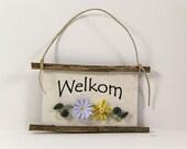 Welkom - Dutch Welcome, Paper Quilled Magnet 310, Kitchen Decor, Netherlands Welcome Mini Sign, Dutch Gift,Yellow Purple Decor, Dutch Gift