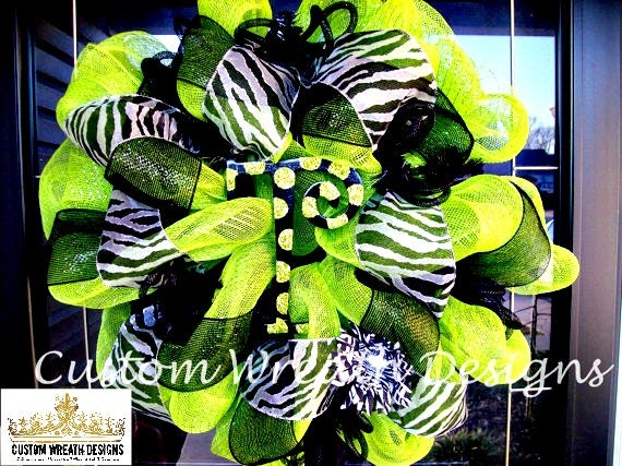 Lime Green and Black Zebra Wreath (with hand painted letter of choice)