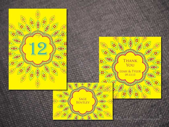 Boho Mexican Indian Wedding Place Card Design Pdf DIY Printable Sunburst Flower Rustic Decor Escort Favor Tag Seating Sign Setting Signage