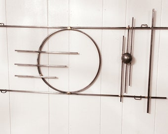 Brazed steel rod mid century modern abstract metal art