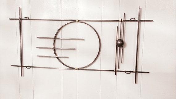 Brazed steel rod mid century modern abstract metal art