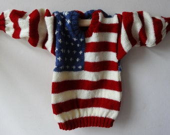 SALE Child's sweater American flag Stars and Stripes design, hand knitted, to fit 19 inch chest LAST ONE