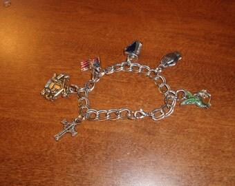 vintage bracelet silvertone charm chain