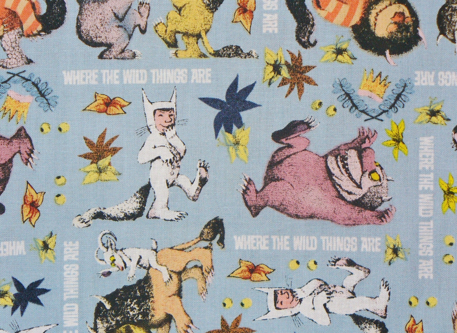 Where the wild things are childhood book max creatures Coloring book fabric by the yard