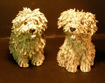 Sheep Dog hand sculpted in USA  from a lump of clay sold by outsider Artist Debbie limoli