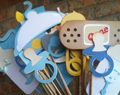 BABY BOY:  photo booth props    blues grey whites and yellows