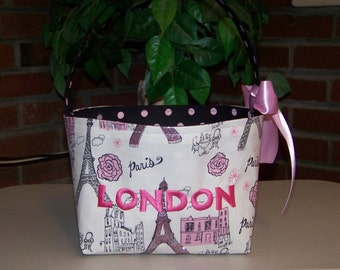 Fabric Easter Basket – Black and Pink Sparkly Eiffel Tower Paris - Personalization Included - Great Storage Bin