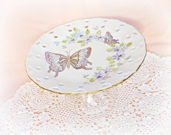 Dessert Stand Papillon Server Upcycled Vintage Hand Painted Butterflies Flowers Jewellery Stand Jewelry Domum Vindemia Birthday Wedding