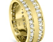 1.50CT Diamond Yellow Gold Eternity Double Row Flat 7.5MM High Polised Womens Anniversary Wide Ring Band