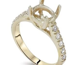 Diamond .25CT Semi Mount Engagment Setting Mounting 14K Ring