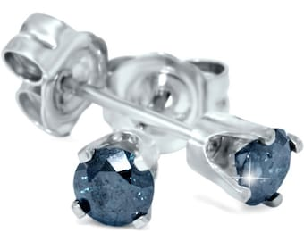 Blue Diamond Studs .38CT Round Brilliant Cut 14K White Gold Earrings