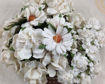 30 Mixed Size White of Handmade Thailand Paper crafts Christmas Wedding flowers Daisy 30  - 15