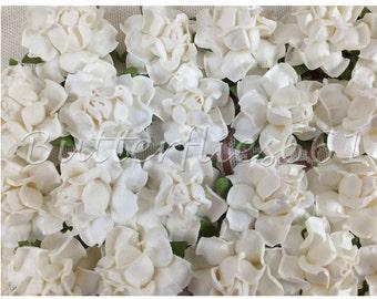 20 Handmade Mulberry Paper Flowers White Wedding Roses Code - 15