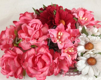 25 Coral Red Christmas Handmade Mulberry Paper Flowers Roses Daisy Lily Wedding  LYRD - 79