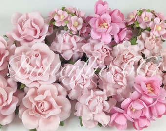 45 Handmade Mulberry Paper Flowers Mixed Sizes of Soft Pink Wedding Roses