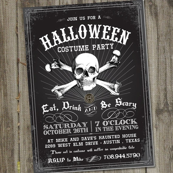 Vintage skull retro halloween printable party invitation for Vintage halloween party invitations