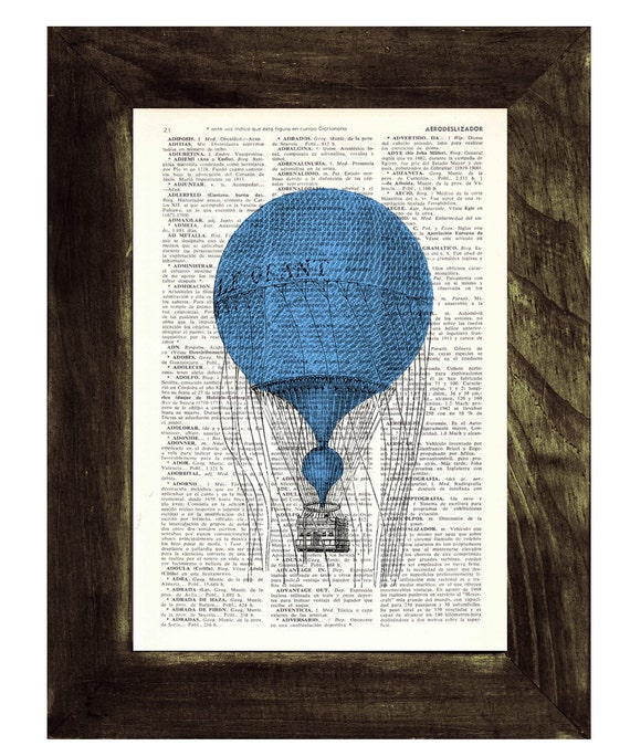 """Dictionary art Hot air balloon """" Le Grant""""  antique ilustration print  on vintage book page- Upcycled gift Wall decor TVH136"""