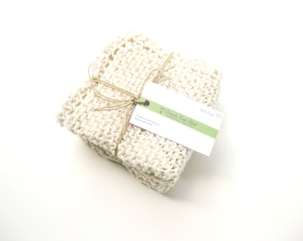 Cotton spa washcloth natural hand knit
