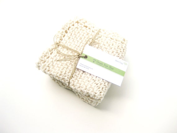 Knit spa washcloth natural cotton