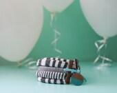 Knit Bracelet // Charcoal Grey Stripe Pattern