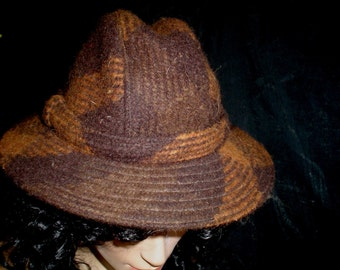 80s S Aquascutum Wool Tweed Trilby HAT Brown