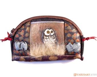 Womens wallet - genuine leather soft pouch - hand painted change purse with owl